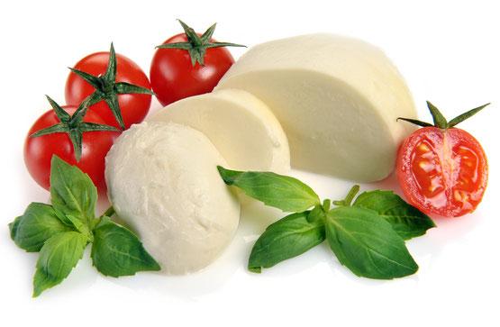 Mozarella mit Tomaten und Basilikum