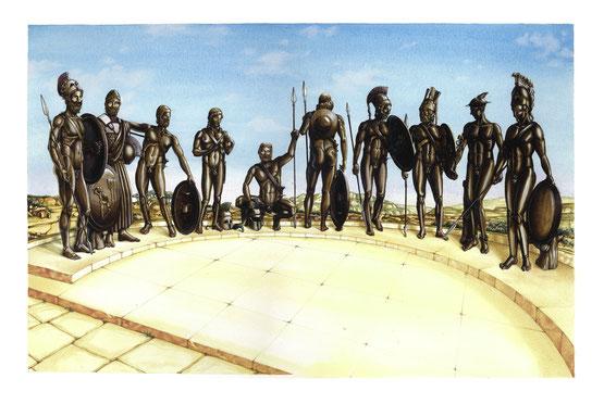 Da sinistra : Anfiarao (uno dei due bronzi ritrovati), Adrasto, Batone, Partenopeo, Polinice, Ipomedonte, Capaneo, Tideo ( il secondo bronzo ritrovato), Ermes e Teseo.