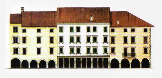 """in origine, questa era chiamata piazza del Mercato. Venne poi ribattezzata """"della Fontana"""", e in ultimo intitolata a Paolo Diacono"""