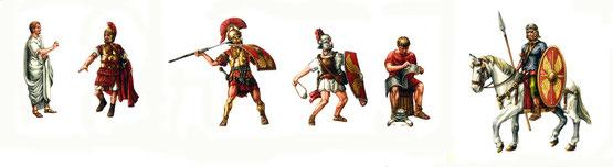 Senatore, Centurione, fanteria pesante, fanteria leggera, operai militari e cavalleria