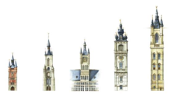 Courtrai, Tournai, Ypres, Mons, Gand