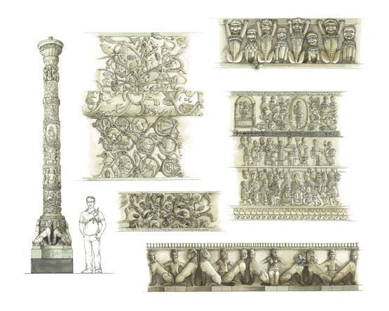 Il prodigioso candelabro marmoreo in San Paolo fuori le Mura, (veduta d'insieme della tavola). La figura umana, in questo caso, è uno strumento per poterne quantificare la proporzione.