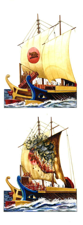 Si chiamava così una sorta di ponte provvisto di uncino, con il quale veniva afferrata e bloccata la nave nemica