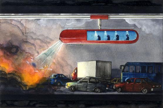 Si chiama Robogat , si muove su una rotaia posizionata sul soffitto, e consente di spegnere incendi all'interno dei tunnel e portare in salvo le persone intrappolate.