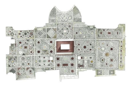 il disegno musivo si basa sulla continua variazione della circonferenza di ispirazione bizantina