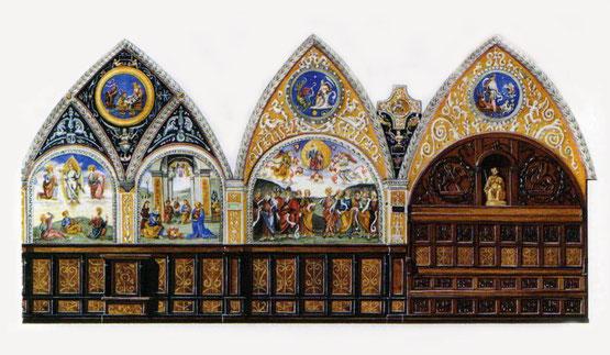 le volte e le pareti sono affrescate da Pietro Vannucci detto il Perugino (1448-1523)