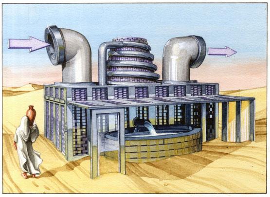 il collettore attivo, aspira l'aria e utilizza i filtri di carbonio per trattenere l'acqua. Per limitare il consumo, funziona a pannelli solari. (prototipo)