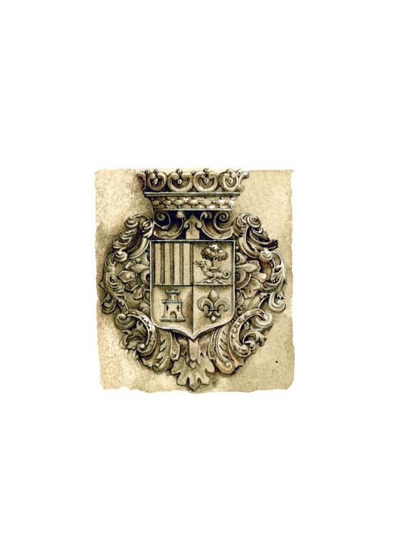 scudo araldico sulla facciata del Palacio de los Marqueses de San Nicolàs
