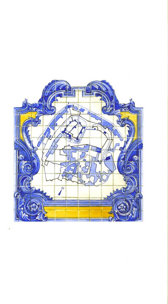 mappa del castello su un azulejos