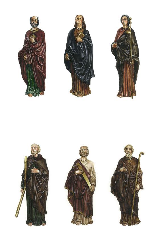 Gli Apostoli: Pietro, Giovanni e Giacomo (in alto), Andrea, Bartolomeo e Mattia (in basso).