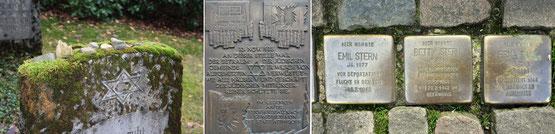 Grabstein, Gedenktafel und Stolpersteine