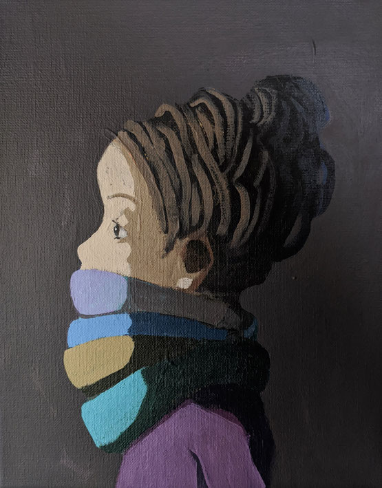 scarves - Acryl auf Leinwand, 30x24cm, 2020 | verkauft