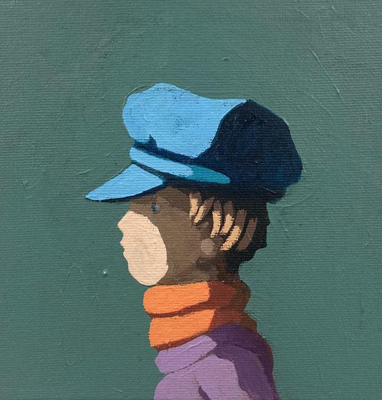 blue cap - Acryl auf Leinwand, 20x20cm, 2020 | verkauft
