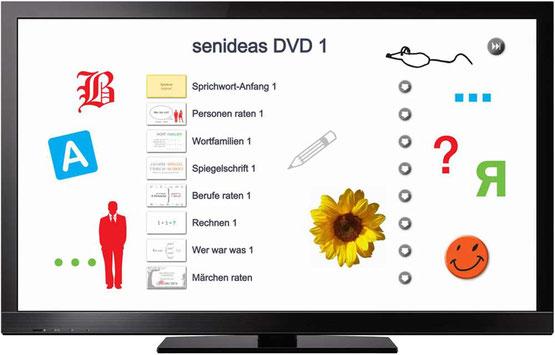 TV-Gerät mit Beschäftigungsideen, Senioren aktivieren.