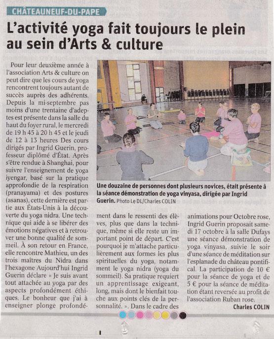yoga arts et culture Chateauneuf du pape vaucluse Celine Brun