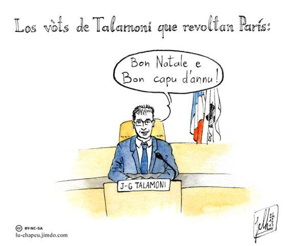 """Les vœux de J-G Talamoni qui revoltent Paris : """"Bon Natale e Bon Capu d'Annu !"""" (Joyeux Noël et bonne fin d'année, en corse)."""