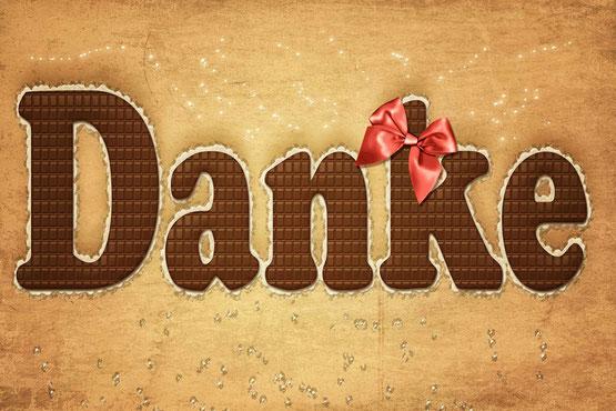 Dankeschön Grusskarte mit Schokoladenschrift und Schleife-Grafik