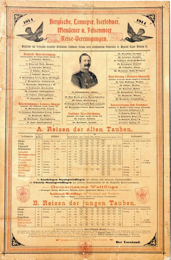 Brieftauben Reiseplan aus 1914 Bergische Reisevereinigung