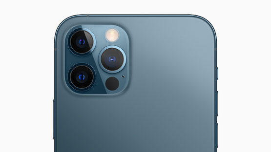 The pro camera system on iPhone 12 Pro models includes new Wide cameras for even better low-light performance, an expansive Ultra Wide camera, and a Telephoto camera for capturing stunning images and video.