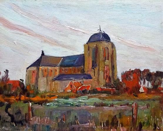 A.J. van Dijck (Alfons) Veere, kunstschilder. Schilderij Grote Kerk Veere te koop.
