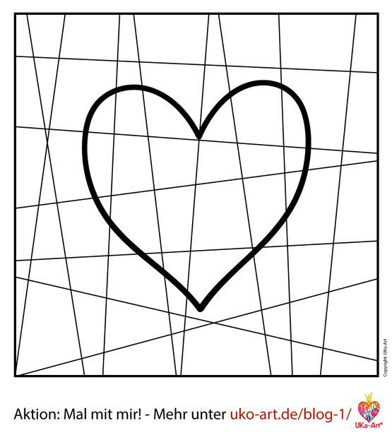 Malvorlage Herz für Muttertag, Aktion Mal mit mir! von UKo-Art - Ursula Konder