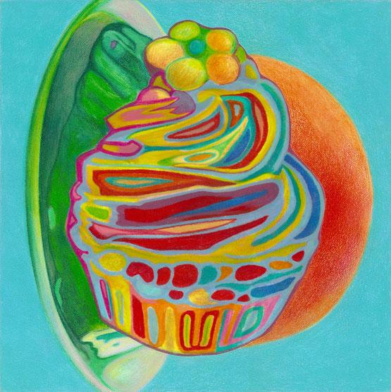 Psychedelischer Muffin, 2017. (Farbstift / PE-Folie / HDF, 20 x 20 cm)