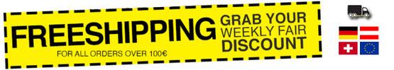 Gratis Versand ab 100€ Bestellwert europaweit - freeshipping for all ordes over 100€
