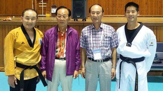 Chosun int. Taekwondo Academy Sommer 2017. GM Hwang Insik, GM Kim Jung-Lok, GM Kim Choung-Kwan, GM Kim Jae-Hyong   vlnr.