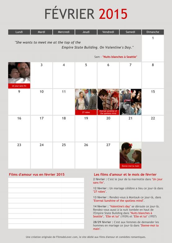 calendrier romantique fevrier 2015 films amour