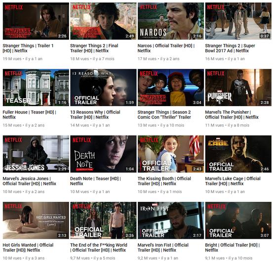 Classement des vidéos les plus consultées sur le compte Youtube de Netflix US au 6 juin 2018.