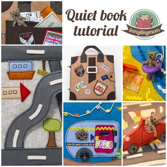 Quiet book Teddy on holiday made of felt quiet book tutorial autobahn teddy patterns spielbuch anleitung activity book outdoor inspired