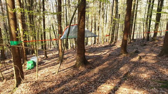 Baumzelt im Wald. Bild: Baumhaushotel Solling