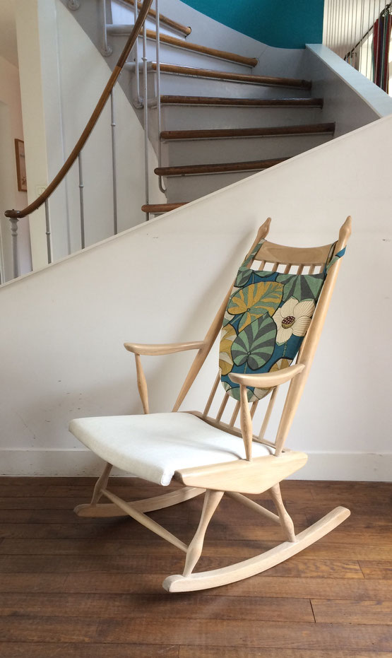 rocking-chair Baumann éventail, rocking-chair vintage, rocking-chair scandinave