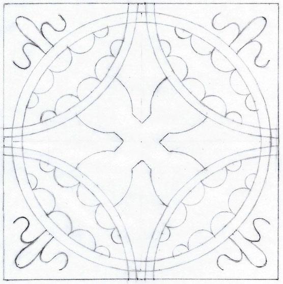 Muster der Bodenplatte - Zeichnung © Klara Pieper