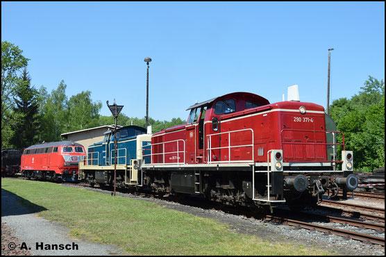 290 371-4 ist für die DB im Einsatz. Am 14. Mai 2018 ist sie im Bw Schwarzenberg zum Eisenbahnfest zu Gast