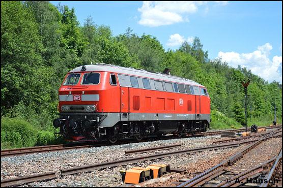 218 466-1 von Railsystems RP ist am 2. Juni 2019 zur Lokparade im Bw Schwarzenberg zu sehen