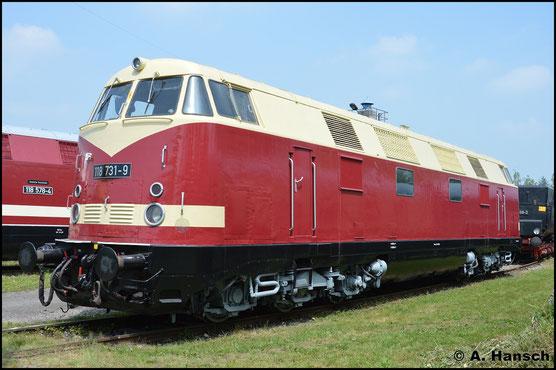 Der TEV Weimar hat sich der Lok angenommen. Am 28. Mai 2016 erkannte ich sie im Bw Weimar kaum wieder. Sie erhielt eine Sparlackierung und ihre ex DR-Nummer 118 731-9