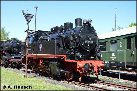 91 6580 gehört den Eisenbahnfreunden aus Arnstadt. Am 28. Mai 2017 ist sie in Schwarzenberg zum Bw-Fest zu Gast