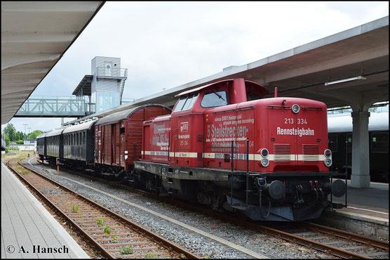 DPN 20852 um 213 334-6 zurück nach Ilmenau steht etwas später am Bahnsteig bereit