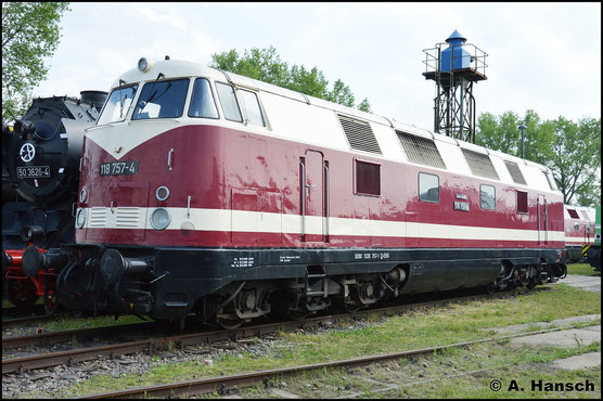 Am 28. Mai 2016 ist die Lok wieder im DR-Farbkleid lackiert. Sie ist als 118 757-4 weiterhin für EBS im Einsatz. Im Bw Weimar wurde sie zum Bw-Fest ausgestellt