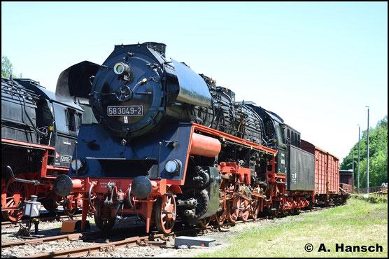 Am 28. Mai 2017 ist die Lok in Schwarzenberg vor einen Güterzug abgestellt worden. Auch hier war das Bw-Fest der Anlass