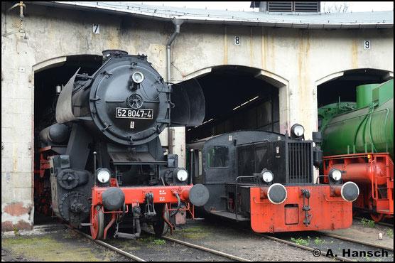 Am 15. April 2017 ist die Lok nicht mehr unter Dampf. Im Museums-Bw Nossen entstand dennoch ein kleiner Schnappschuss