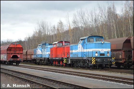 Am 28. November 2017 kommt die Lok, gemeinsam mit 346 615-8, von der HU aus Cottbus zurück. 201 067-6 brachte den Zug. Im Rbf. Chemnitz-Küchwald angekommen entstand dieses Bild