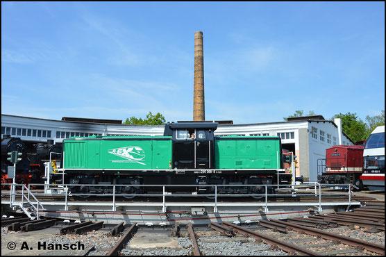 Die Lok mit der außergewöhnlichen Lackierung gehört FLEX Bahndienstleistungen