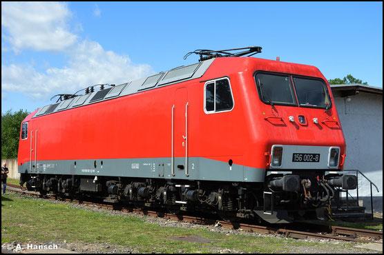 156 002-8 wurde inzwischen an die EBS abgetreten und ist am 31. Juli 2021 im Bw Weimar ausgestellt