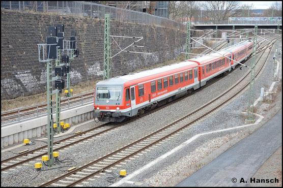 Am 2. Februar 2016 erreichen zwei 628er in wenigen Augenblicken Chemnitz Hbf. Es handelt sich um 628/928 580 (vorn) und 928/628 578, die für Modernisierungsarbeiten ins AW Chemnitz fahren