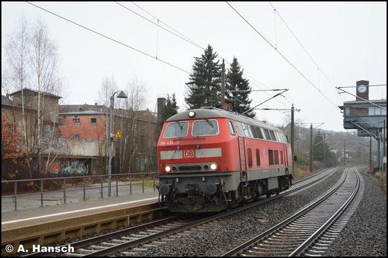 Die Ulmer 218 434-9 durcheilt am 31. Dezember 2018 den Hp Chemnitz-Hilbersdorf. Sie sollte mein letztes Bild in 2018 sein
