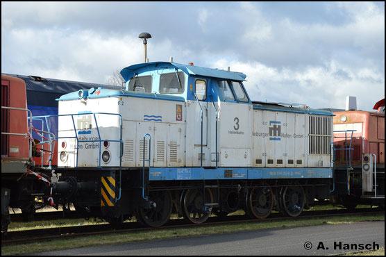 Ohne Kuppelstangen steht 345 263-8 (Lok 3 der Magdeburger Hafen GmbH) am 12. Februar 2019 im Werk Cottbus