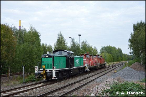 Am 21. August 2018 holt die Lok 363 146-2 und 295 006-1 aus dem Stillstandsmanagement Chemnitz. In Chemnitz-Küchwald konnte die seltene Fuhre abgelichtet werden