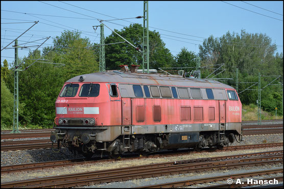 225 003-3 ist im Stillstandsmanagement Chemnitz abgestellt. Am 18. Juli 2019 steht sie separat und fotogen am AW